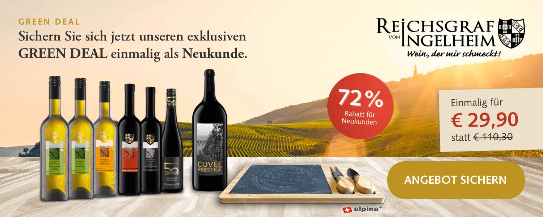 6 Flaschen Wein (3x Rot, 3x Weiß) + Magnumflasche Rotwein + Alpina Käsebrett mit Messer und Gabel für 34,85€