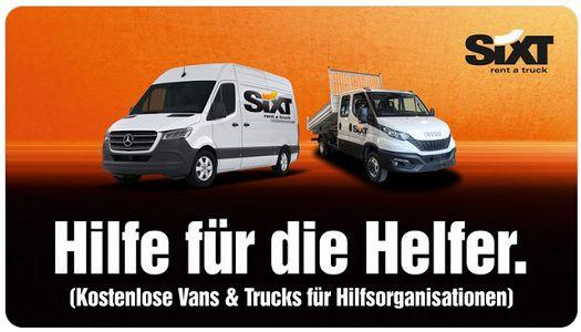 Sixt: Gratis Vans & Trucks für Hilfsorganisationen zur Fluthilfe