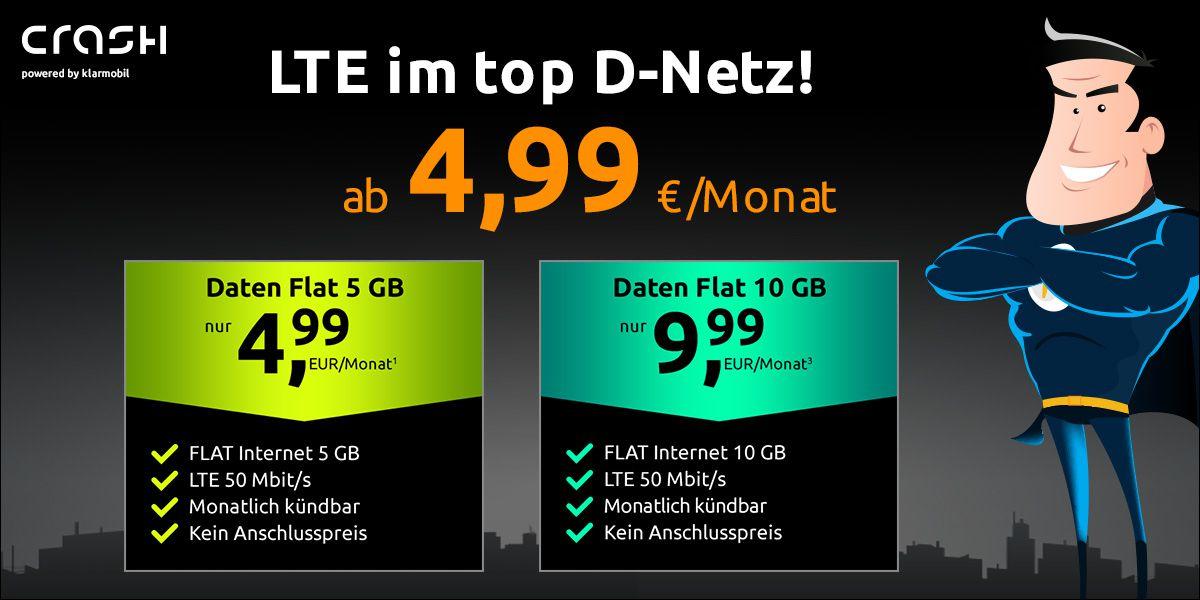 Vodafone Daten Flat von Crash mit 5GB LTE für 4,99€ mtl. oder mit 10GB LTE für 9,99€ mtl.   monatlich kündbar!