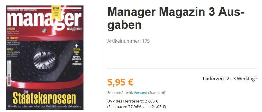 3 Ausgaben Manager Magazin Abo für einmalig 5,95€ (statt 27€)   automatisch auslaufend!