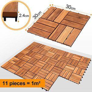 EINFEBEN 1 m² Holzfliesen aus Akazienholz (30 x 30 cm) für 20,29€ (statt 29€)   Prime