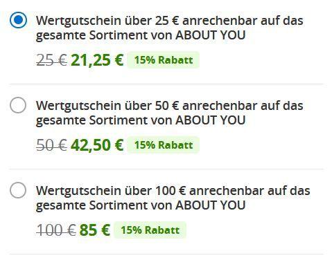 About You Wertgutscheine von Groupon: z.B. 100€ für 85€