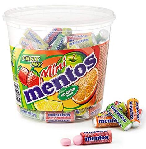 Amazon: Süßigkeiten & Snacks für die Schultüte   z.B. 120er Mini Mentos Fruit Mix ab 10,44€ (statt 14€)