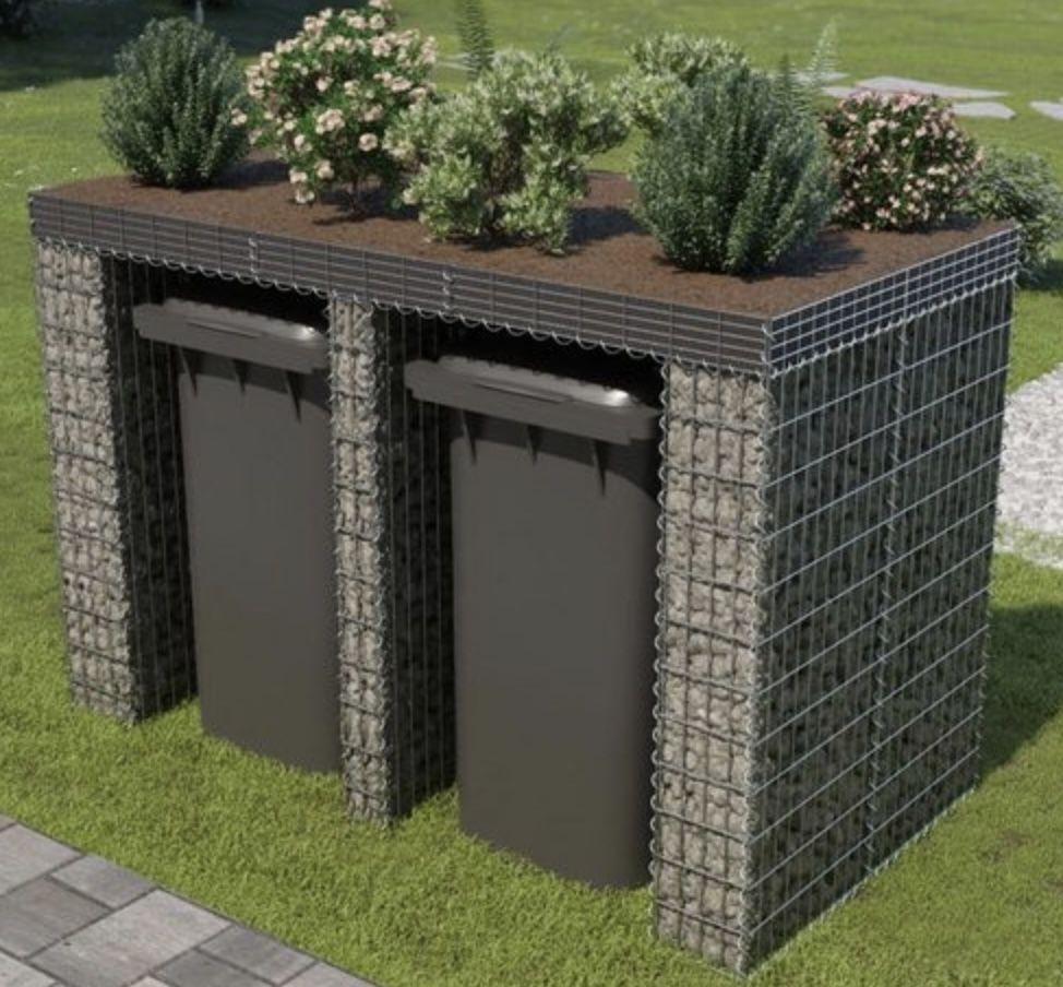 vidaXL Gabionenwand für Mülltonne aus verzinktem Stahl (190x100x130 cm) für 126,99€ (statt 275€)