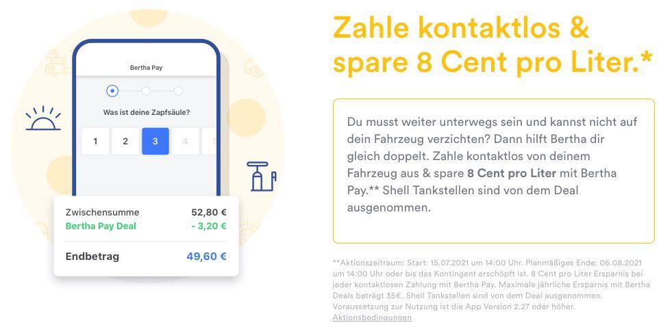 Bertha: 8 Cent pro Liter Benzin/Diesel sparen   nur ausgewählte Tankstellen
