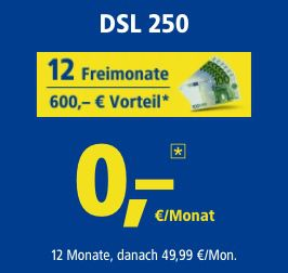 1&1 DSL 250 ab 25,83€ mtl. dank 12 Freimonate