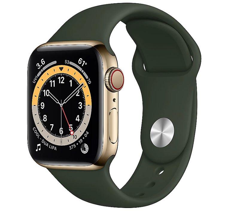 Apple Watch Series 6 in Gold (LTE, Edelstahl, 40mm) mit Sportarmband in Zyperngrün für 544€ (statt 705€)