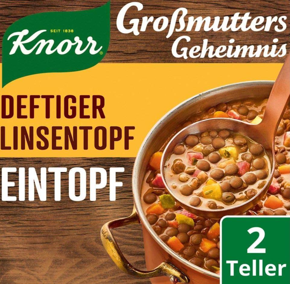 8er Pack Knorr Großmutters Geheimnis Eintopf Deftiger Linsentopf mit Speck (je 2 Teller) für 6,38€ (statt 11€)