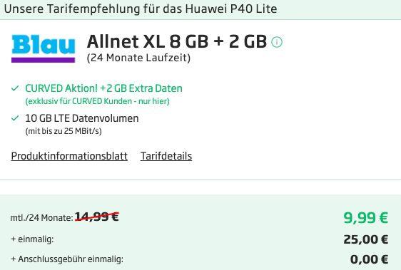 Huawei P40 Lite mit 128GB für 25€ + o2 Allnet Flat von Blau.de mit 10GB LTE für 9,99€ mtl.