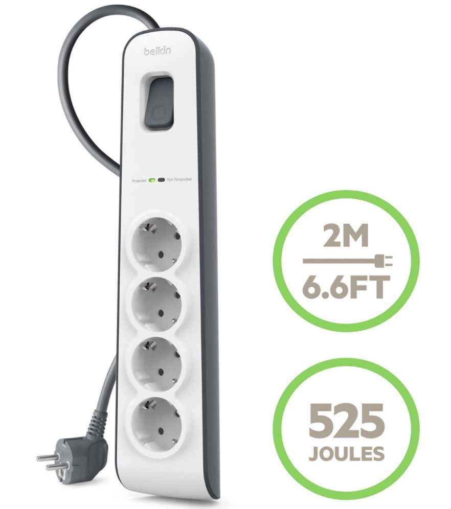 Belkin Surge Plus 4 fach Steckdosenleiste mit Überspannungsschutz für 8,90€ (statt 18€)   Prime