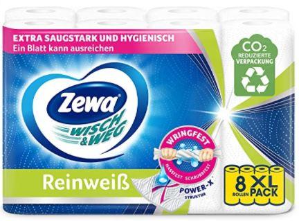 48er Pack Zewa WischundWeg Reinweiss Küchenrolle mit Power X Struktur für 19,12€ (statt 24€)   Prime Sparabo