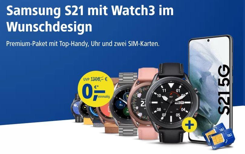 Samsung Galaxy S21 + Samsung Galaxy Watch 3 LTE für 819,66€ (statt 1.081€)   dank 1&1 Schubladenvertrag