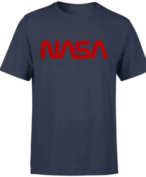 NASA Worm Rot Logotype T Shirt in Navy Blau für 9,99€ (statt 18€)