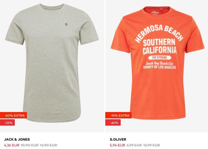 Restgrößen: Jack & Jones und s.Oliver T Shirts ab 5,94€ + keine Versandkosten