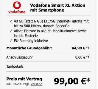 Pricedrop: Samsung Galaxy Z Flip3 5G 128GB für 49€ + Vodafone Allnet Flat mit 40GB LTE/5G für 42,99€ mtl.