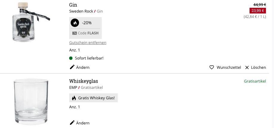 0,7 Liter Sweden Rock Gin 41% Vol. für 28,94€ (statt 40€) + gratis Whiskeyglas