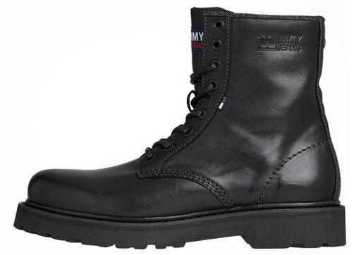 Tommy Jeans Boots aus Leder in Schwarz für 54,50€ (statt 130€)