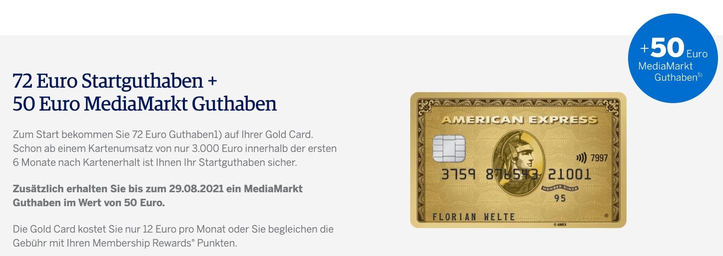 American Express Gold Card inkl. Zusatzkarte + Reiseversicherungen für 12€ mtl. + 72€ Guthaben + 50€ MediaMarkt Guthaben