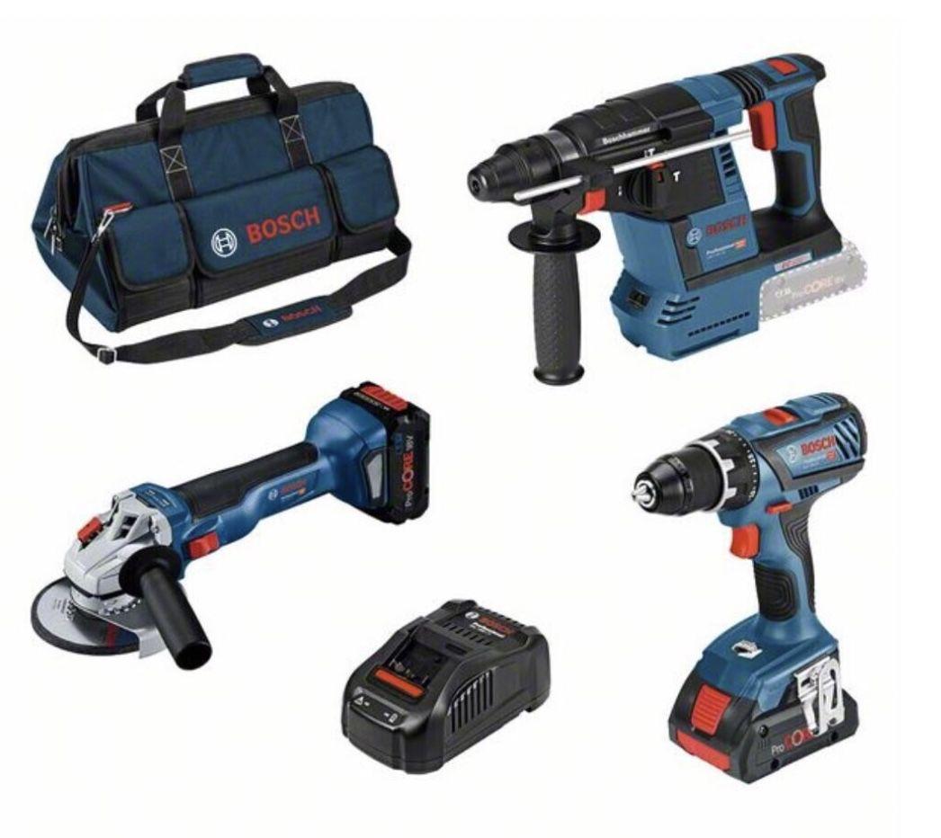 Bosch 0615990M3C Akku Profi Set | GSR 18 V 28; GWS 18 V 10; GBH 18 V 26 und 2 Akkus für 499€ (statt 585€)