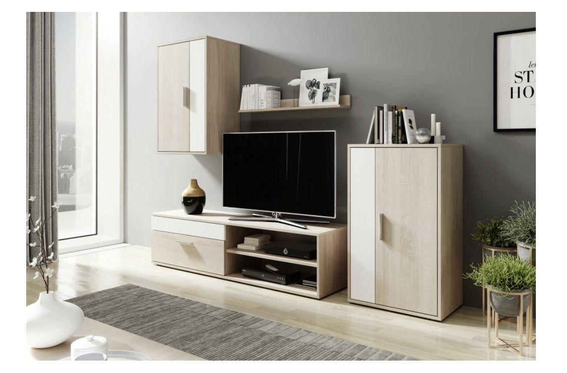 Mömax Wohnwand Berno in Weiß/Eiche für 105,25€ (statt 129€)