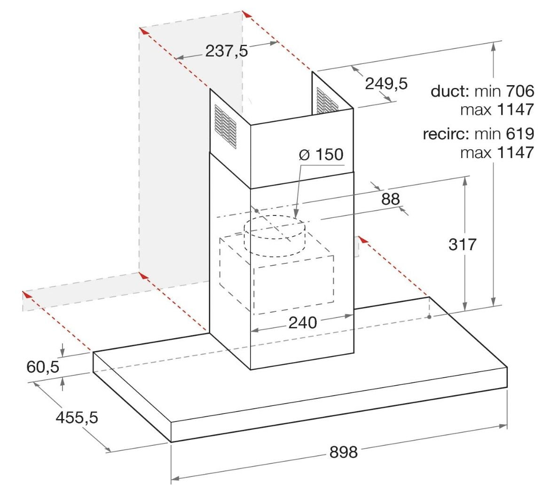 Bauknecht Wandhaube DBHBS 92 LTI X für 324,95€ (statt 478€)