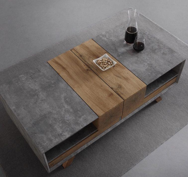 Bessagi Couchtisch Casper mit ca.60x120cm in Grau und Eichenfarbe für 118,30€ (statt 169€)