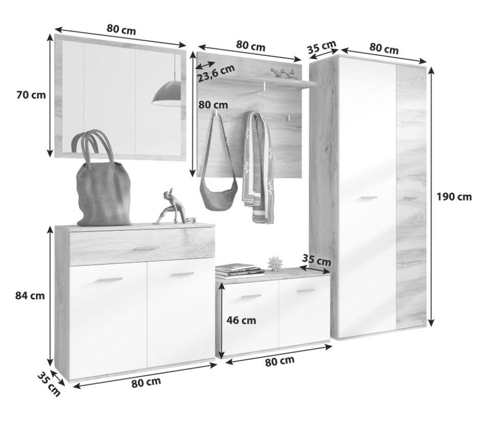 Garderobe Irys in Eiche/Weiß für 294,25€ (statt 349€)