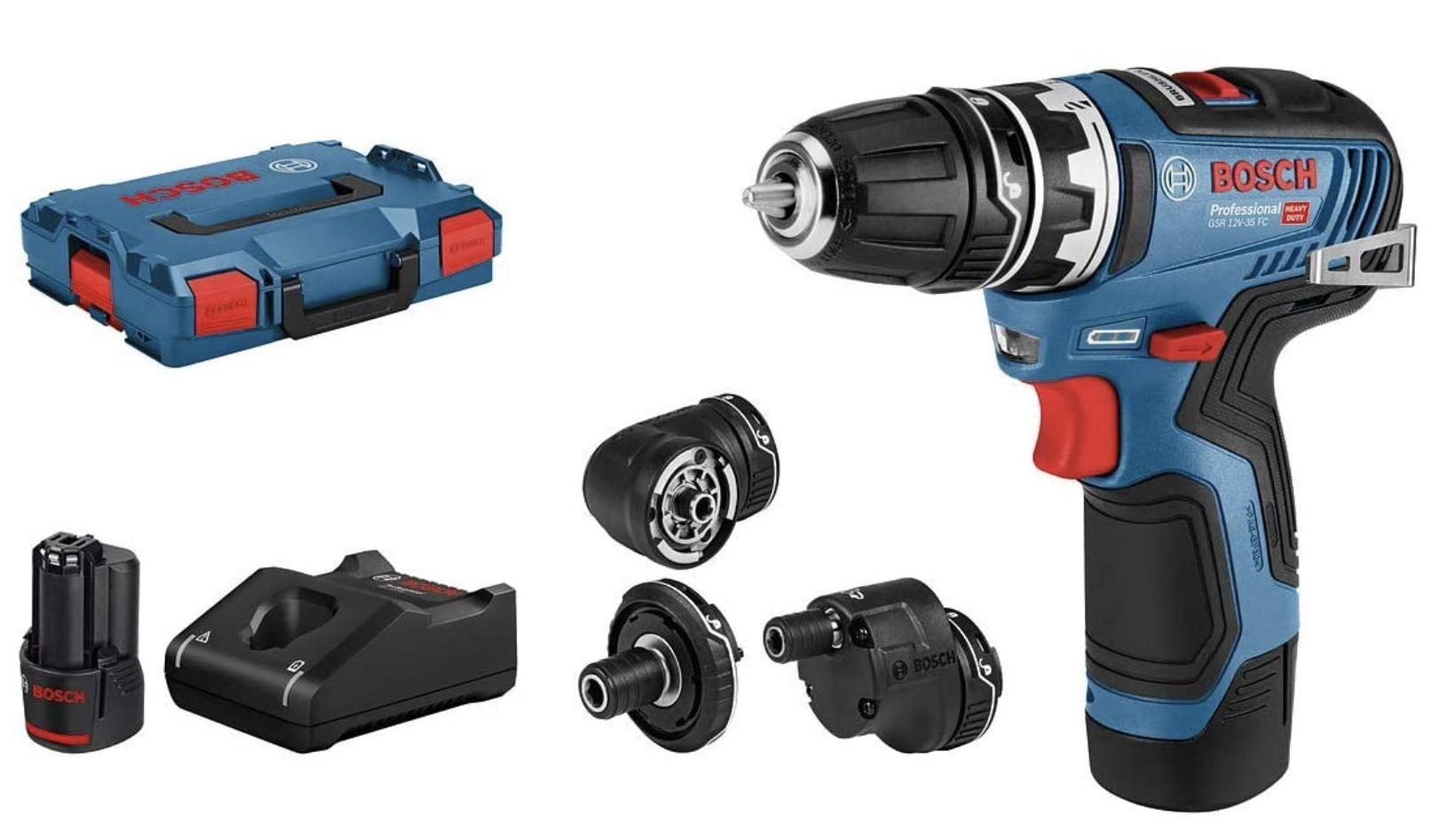 Bosch GSR 12V 35 FC Bohrschrauber inkl. 2x3.0 Ah Akku, Schnellladegerät GAL 12V 40 für 189,31€ (statt 209€)