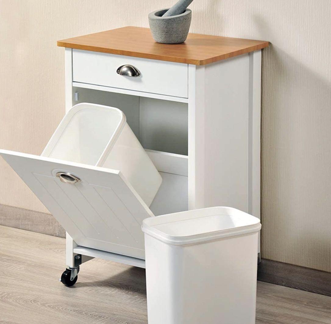 Kesper Küchenwagen inkl. Abfalleimer in Weiß/Bambus für 74,99€ (statt 85€)