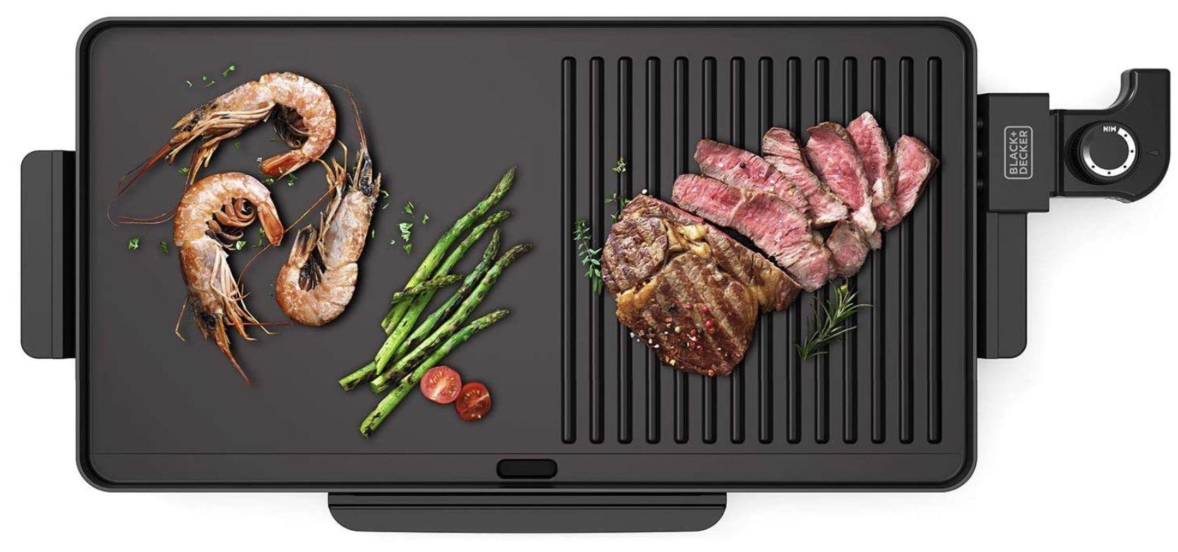Black+Decker BXGD2200E antihaftbeschichteter Grill mit 2.200Watt & 49x27cm Grillfläche für 17,85€ (statt 39€)