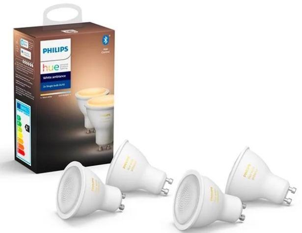 4er Pack Philips Hue White Ambiance GU10 Bluetooth Leuchten + Dimmerschalter (V2) + Bridge für 100,39€ (statt 122€)
