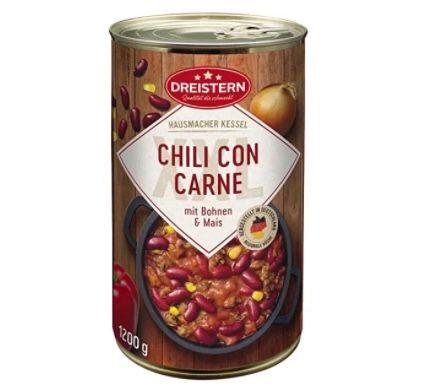 5x Dreistern Chili con Carne (je 1.200g) für 14,21€ (statt 19€) – Prime Sparabo