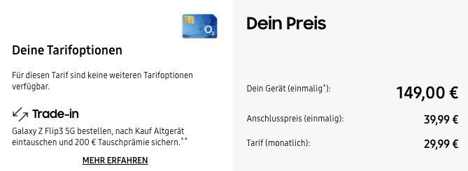 Samsung Galaxy Z Flip3 5G mit 128GB für 149€ + o2 Allnet Flat inkl. 20GB LTE/5G für 29,99€ mtl. + 200€ Tauschbonus