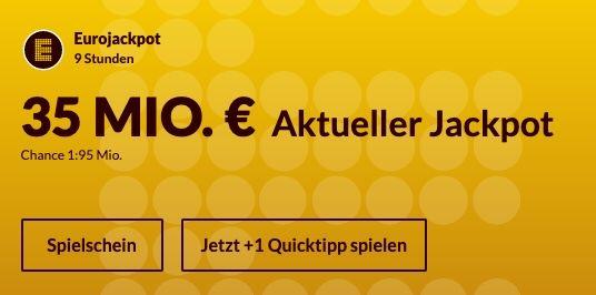 35 Mio. Jackpot: 8 Eurojackpot Felder für nur 11,60€ (statt 17€) – Neukunden