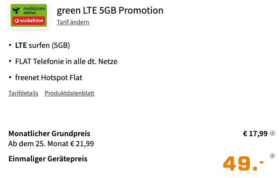Samsung Galaxy S20 FE 128GB für 49€ + Vodafone Allnet Flat mit 5GB LTE für 17,99€ mtl.