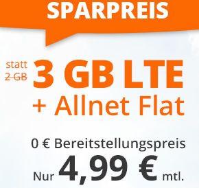 Sim.de: o2 Allnet-Flat mit 3GB LTE für 4,99€ mtl. – nur 3 Monate Laufzeit