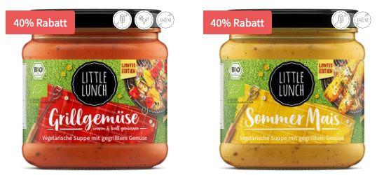 Little Lunch: 40% Rabatt auf die Suppen Paprika Feta, Sommer Mais und Grillgemüse für je 1,61€