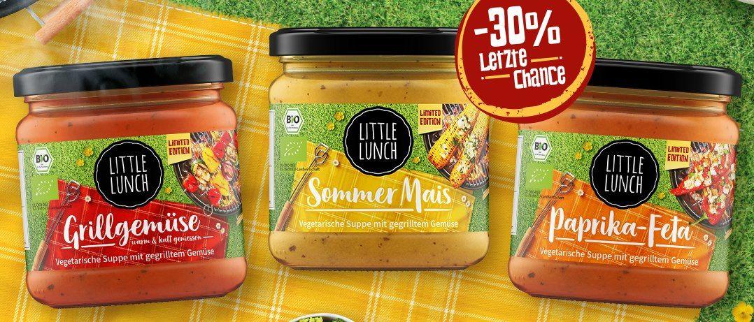 Little Lunch: 30% Rabatt auf die Suppen Paprika Feta, Sommer Mais und Grillgemüse für je 1,88€   ab 17 Suppen keine VSK