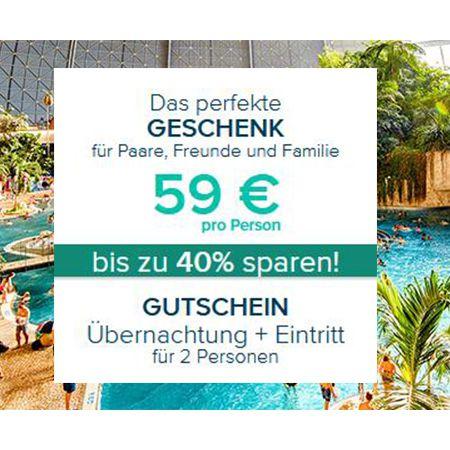 Tropical Island Gutschein für 2 Personen inkl. einer Übernachtung für 118€