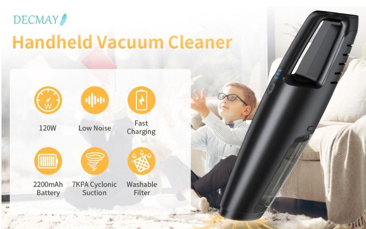 DECMAY Akku Handstaubsauger Hepa Filter mit 120W für 15,98€ (statt 32€)