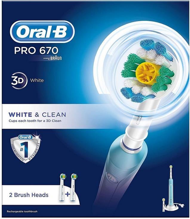 Oral B Pro 670 Elektrische Zahnbürste Cross Action inkl. 2 Aufsteckbürsten für 29,99€ (statt 45€)