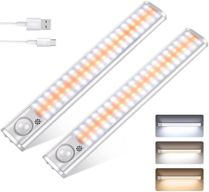 Ceshu LED Schrankleuchten mit Bewegungssensor   80 LED mit 3 Farben für 14,99€ (statt 30€)