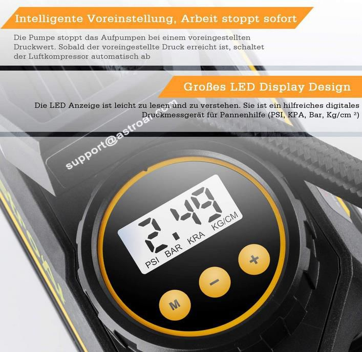 AstroAI   Elektrischer Luftkompressor mit 100PSI 35L/Min für 14,99€ (statt 30€)