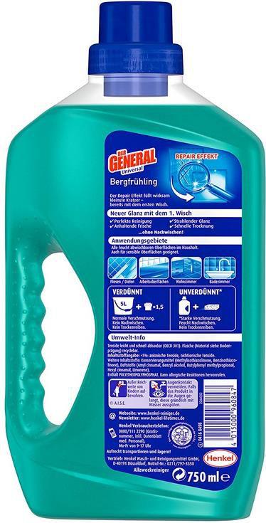 5x Der General Universal Bergfrühling   Allzweckreiniger 750ml Flasche für 3,88€ (statt 6€)