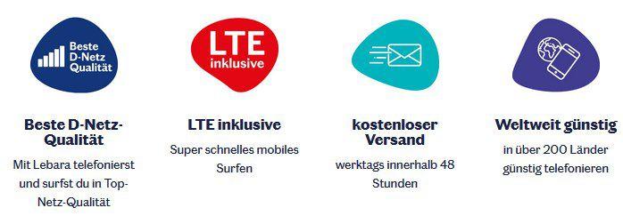 Lebara flexible Tarife im Telekom Netz z.B. 4GB LTE inkl. DE Flat & 50 Min. ins Ausland für 9,99€ mtl.