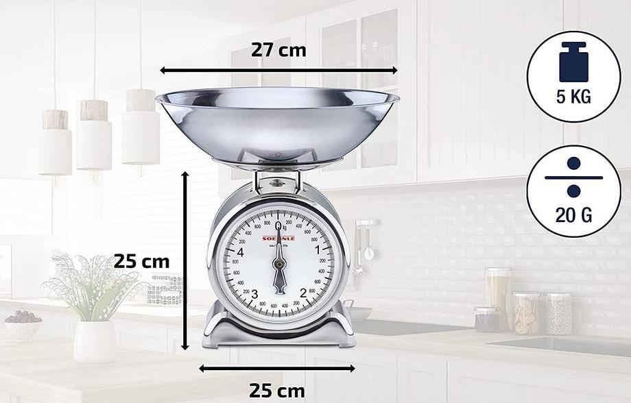 Soehnle Analoge Küchenwaage Silvia aus Edelstahl mit abnehmbarer Wiegeschale für 19,99€ (statt 24€)