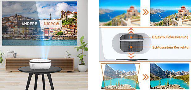 Nic Pow 720p Mini LED Beamer mit Fernbedienung & Leinwand für 54,99€ (statt 110€)