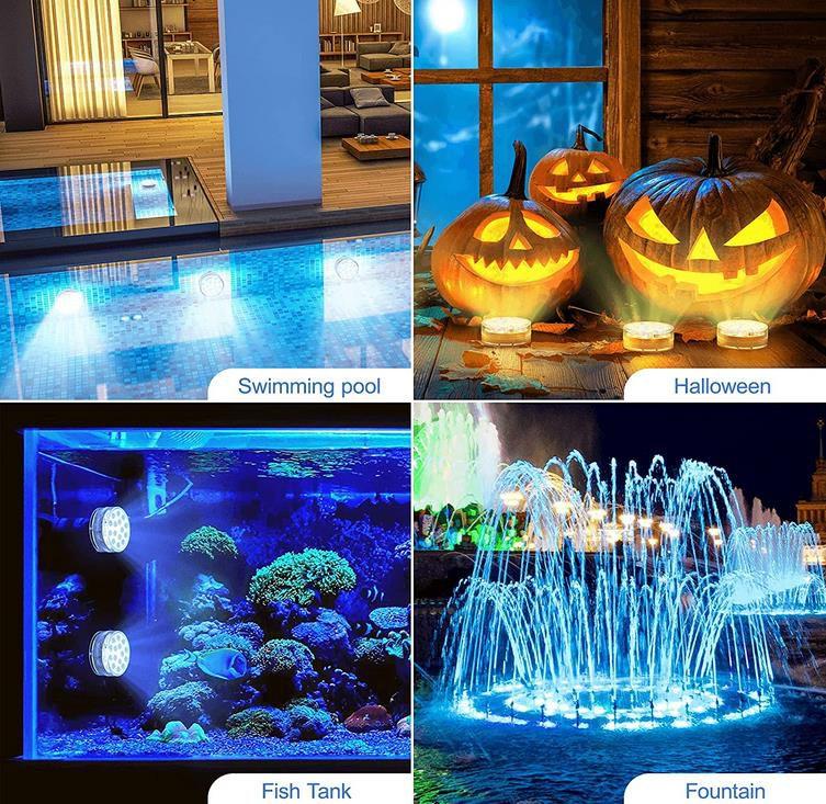 Ruyilam Unterwasser LED Leuchten im 4er Pack für Teich oder Pool mit 15 LEDs für 18,74€ (statt 25€)
