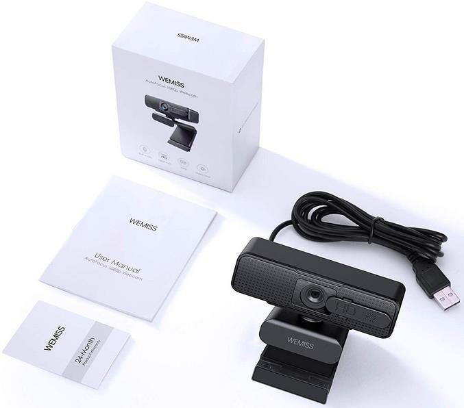 Wemiss Full HD 1080P Webcam mit Mikrofon, Autofokus und Rauschunterdrückung für 15,99€ (statt 30€)