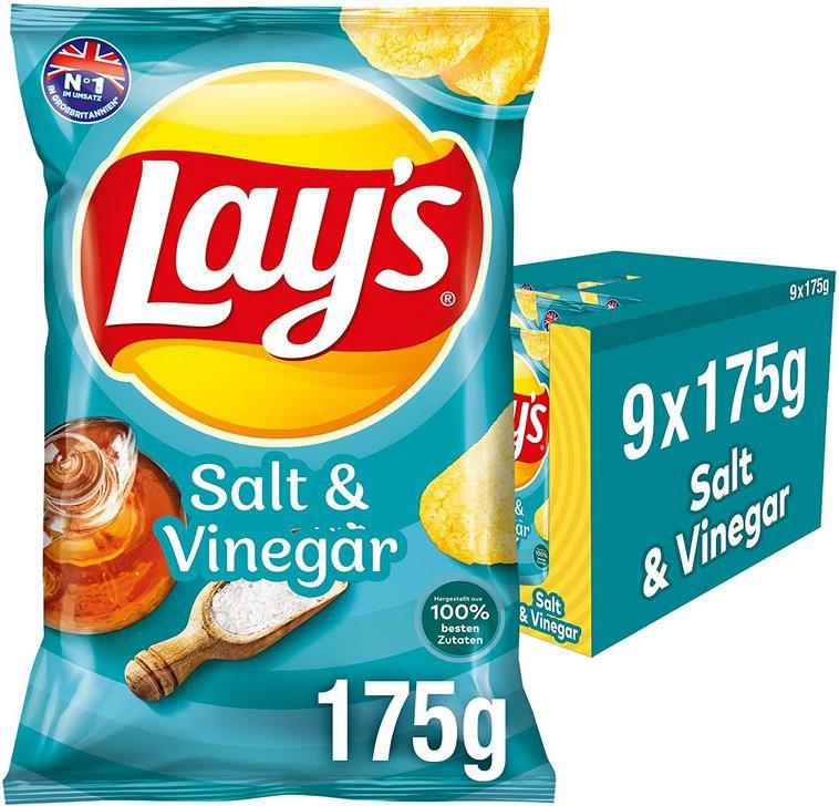 9 x 175g Lays Salt & Vinegar Kartoffelchips für 10,79€ (statt 14€)   Sparabo